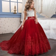 Girls Dress Wedding Dress Long Trailing Clothes Flower Girl Handmade Lace Embroidered Princess Dress Girl Clothes 5-12 Years Old wholesale embroidered flowers girls dress kids clothes wedding dress girl flower belt party dress 12pcs lot free dhl ly9868