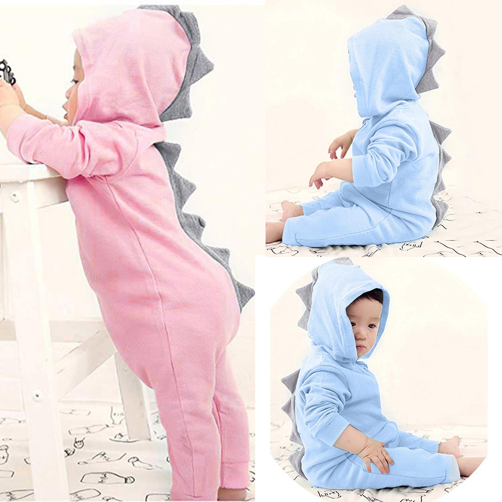 Emmababy <font><b>Baby</b></font> Boy Girl 3D Dinosaur Costume Solid pink gray <font><b>Rompers</b></font> warm spring autumn cotton <font><b>romper</b></font> Playsuit Clothes A1 image