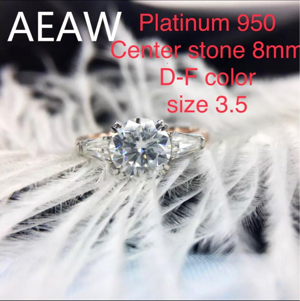 Custom order of pt950 center stone 8mm DF color size 3.5, center stone 5.2mm size4 moissanite ring, two pecies rings-in Rings from Jewelry & Accessories    1