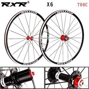 RXR Road Bike Wheelset X6 700C, подшипник, колеса 7-11 скоростей, V, тормозной клиншер, передние и задние алюминиевые колеса диски из сплава