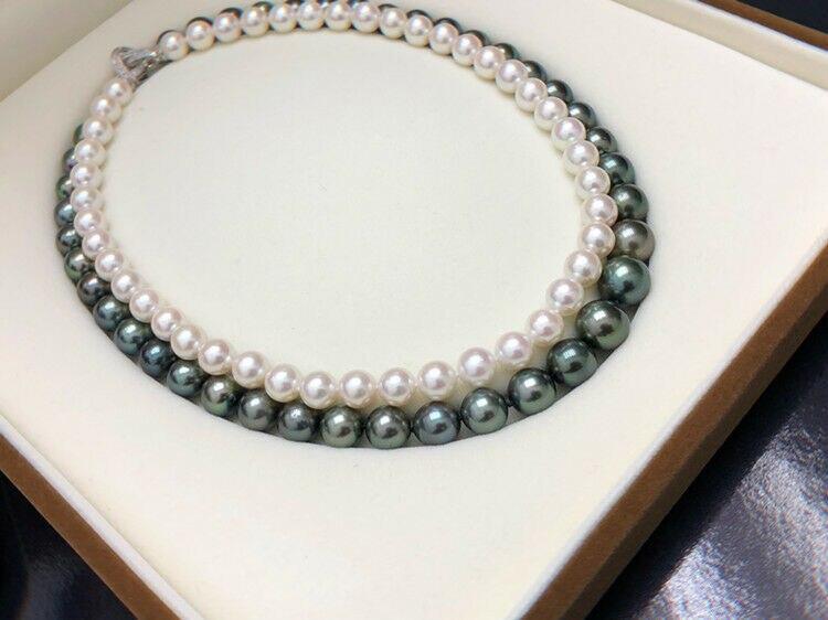 Элегантное жемчужное ожерелье с 2 рядами 7 10 мм белого и черного цвета с южным морем 18 19