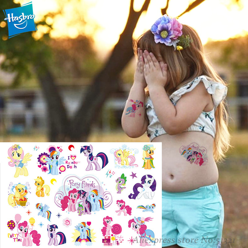 Hasbro My Little Pony Cartoon Temporary Tattoo Sticker For Gril Children Cartoon Toys Tatoo Sticker Waterproof Party Gril Gift