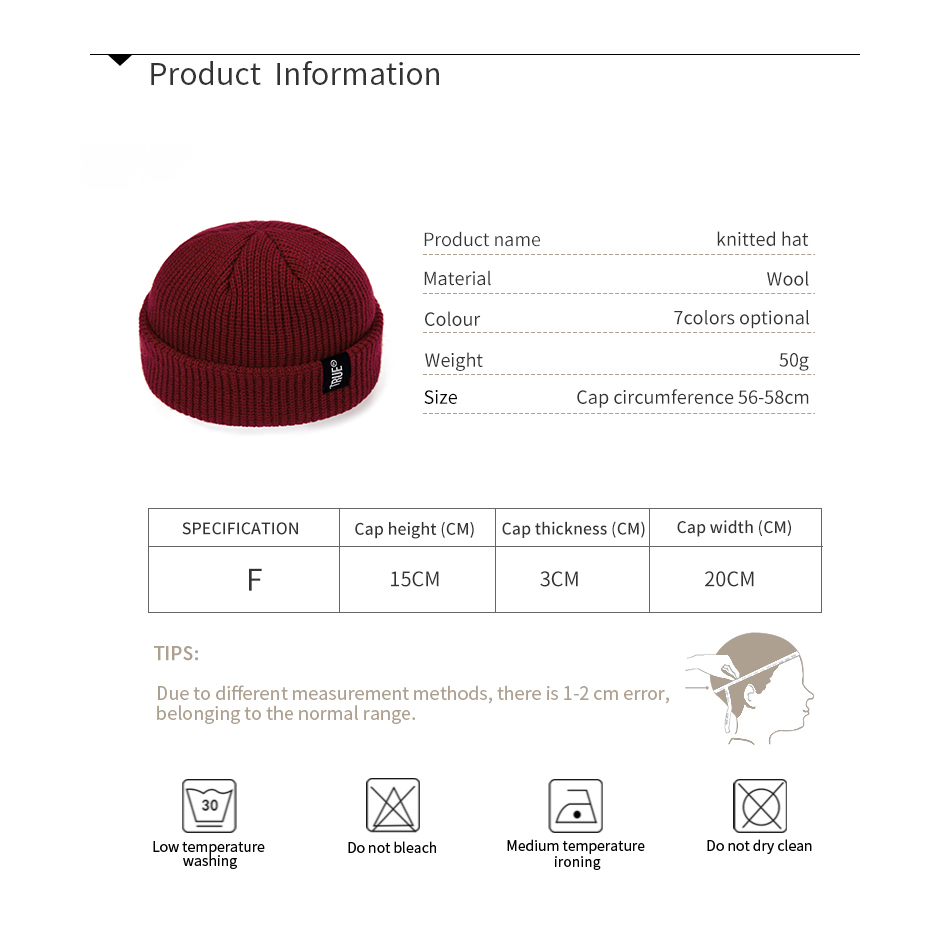 2021 Fashion Unisex Winter Hat Men Cuffed Cib Knit Hat Short Melon Ski Beanies Autumn Winter Solid Color Casual Beanie Hat 16