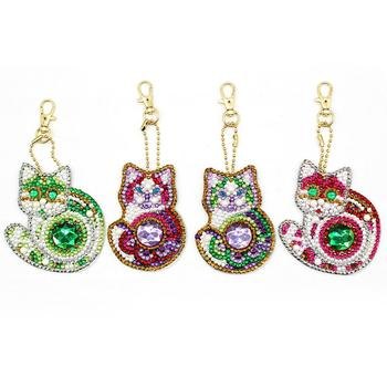 5d Diy Diamond Painting Keychain For Christmas Gift Cat Unicorn Keyring 4sets With Free Shipping Bag Jewelry Ornaments YSK23 2
