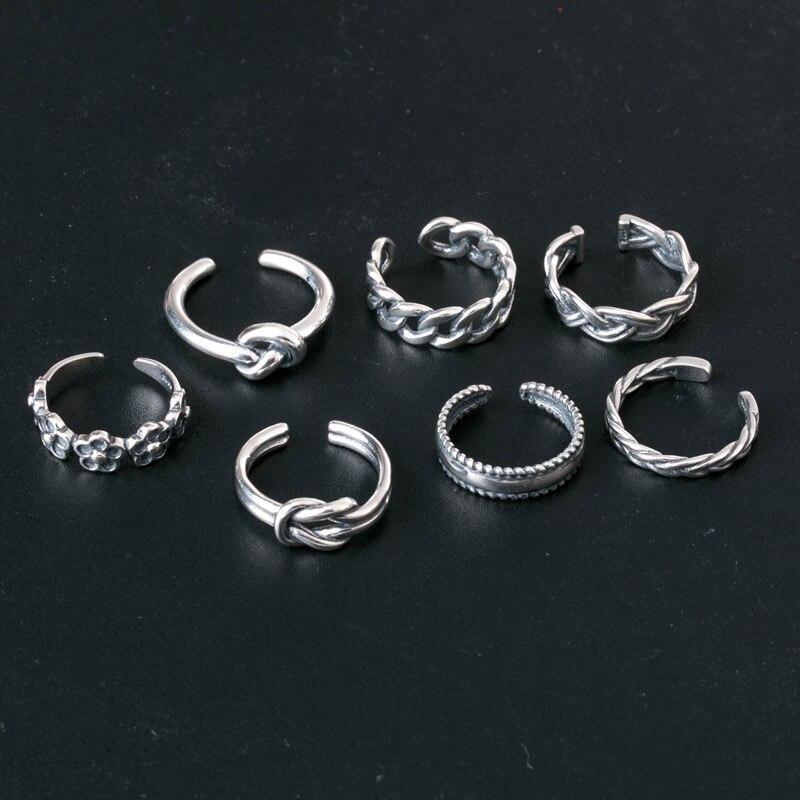 Новые стильные украшения для женщин и девушек, 7 шт., нижний узел, простые костяшки, штабелируемые кольца с открытым хвостом, Гавайские украш...