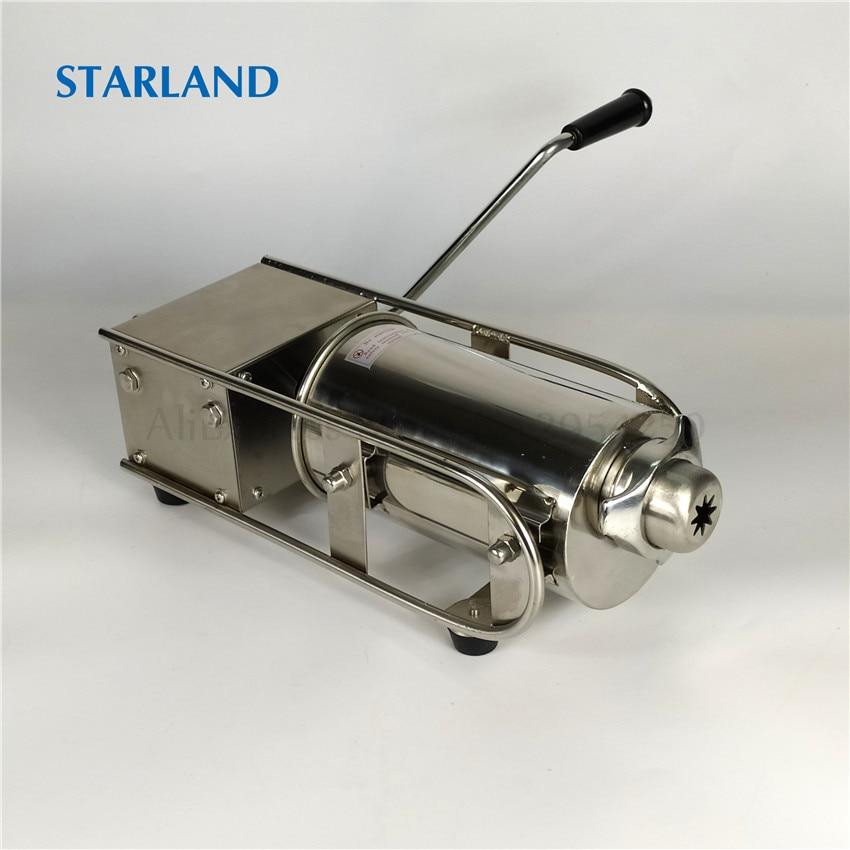 Pozioma 2L Churros maszyna do robienia maszyna do kiełbasy napełniarka mięsa ze stali nierdzewnej Churros wytłaczarka sterowanie ręczne