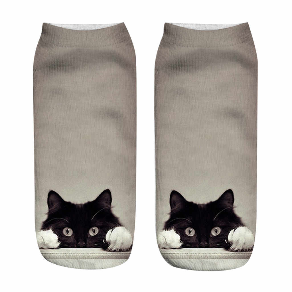 น่ารัก Cat รูปแบบแขนสั้นถุงเท้าการ์ตูนผู้หญิงพิมพ์ผ้าฝ้ายบางฤดูร้อนถุงเท้า Kawaii ตลกข้อเท้าถุงเท้า Low Cut Unisex ร้านขายชุดชั้นใน