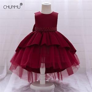 Noworodek dziewczynka 1 rok sukienka urodzinowa koronkowa Tutu Party hafty z koralików sukienka niemowlę chrzest suknia małe dziewczynki ubrania