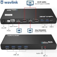 Wavlink uniwersalna stacja dokująca Rltra 5K USB C podwójny wyświetlacz USB3.0 wyjście Audio wideo wsparcie HDMI/Displayport Gigabit dla Mac