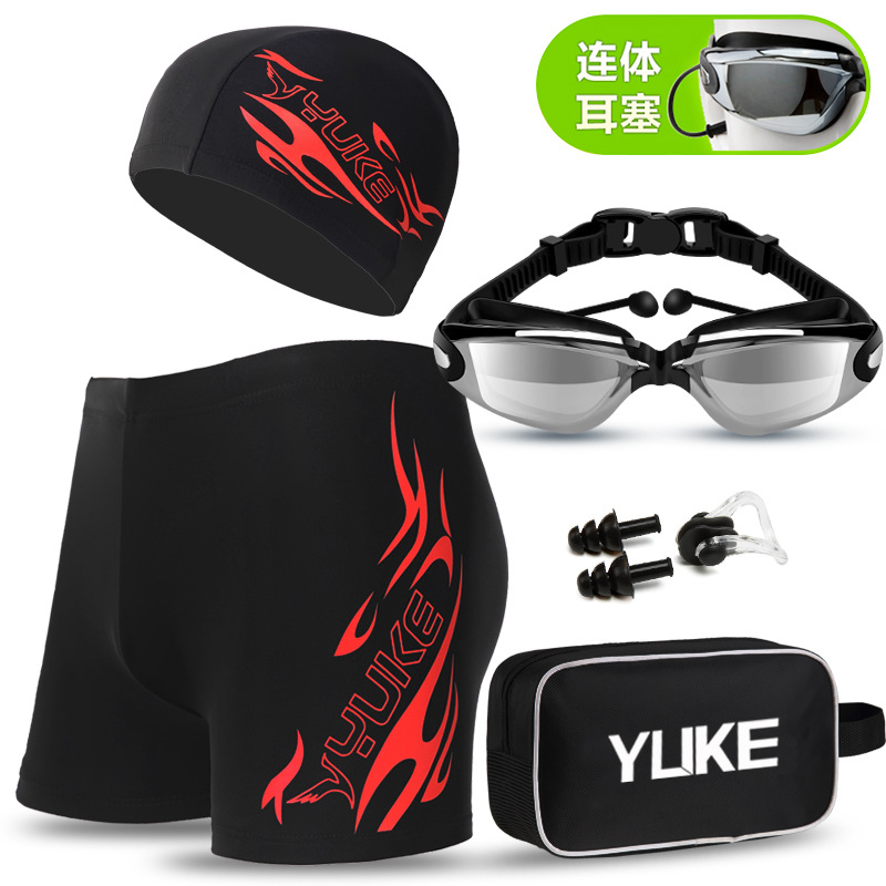 YUKE L-5XL Quick Dry Men Print Cap Swimsuit Comfort Adult Swimwear Swimming Goggles Cap Set Trunks Hat Eyewear Spa Bathing Suit