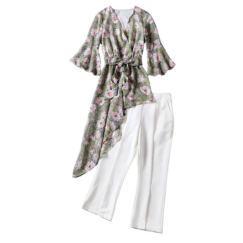V Neck Sex 2 Piece Set Women New 2020 Summer Floral Printted Jacket Womens White Calf-Length Pants Female Suits Outwear LX1853