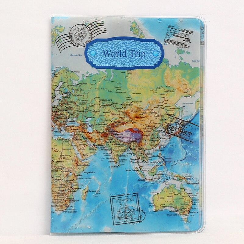 1PC Hot Sale World Map Travel Passport Cover PVC Holder Travel Passport Cover Case Brand Passport Holder Documents Folder Bag