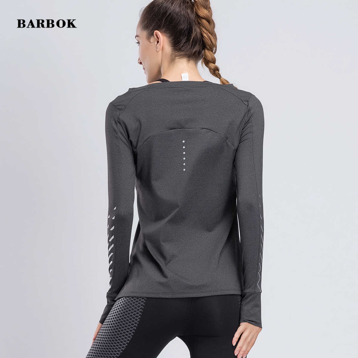 BARBOK נשים כושר יוגה חולצות יוגה חולצות ארוך שרוול אימון כושר ריצת ספורט חולצות אימון יוגה סתיו ספורט