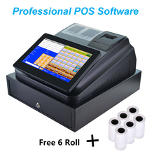Pos Cash Register with Pos Printer 58mm and Cash Drawer Thermal Paper Roll cheap GZWEIOU Wired Dot-matrix Manual Black And White 20ppm Ticket printers 203dpi 8 5kg Receipt Printer 2014 100-240V C86D For Commercial