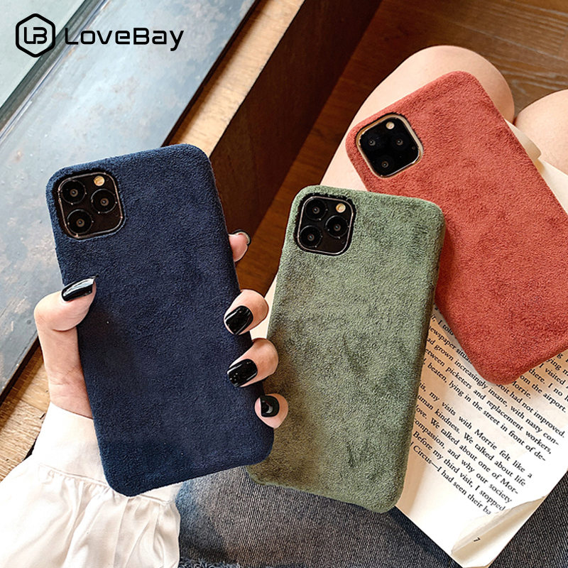 Lovebay Plush Phone Case For IPhone 7 8 Plus 11 Pro X XR XS Max Furry Cloth Solid Color Shell Soft PU Back Cover For IPhone 11