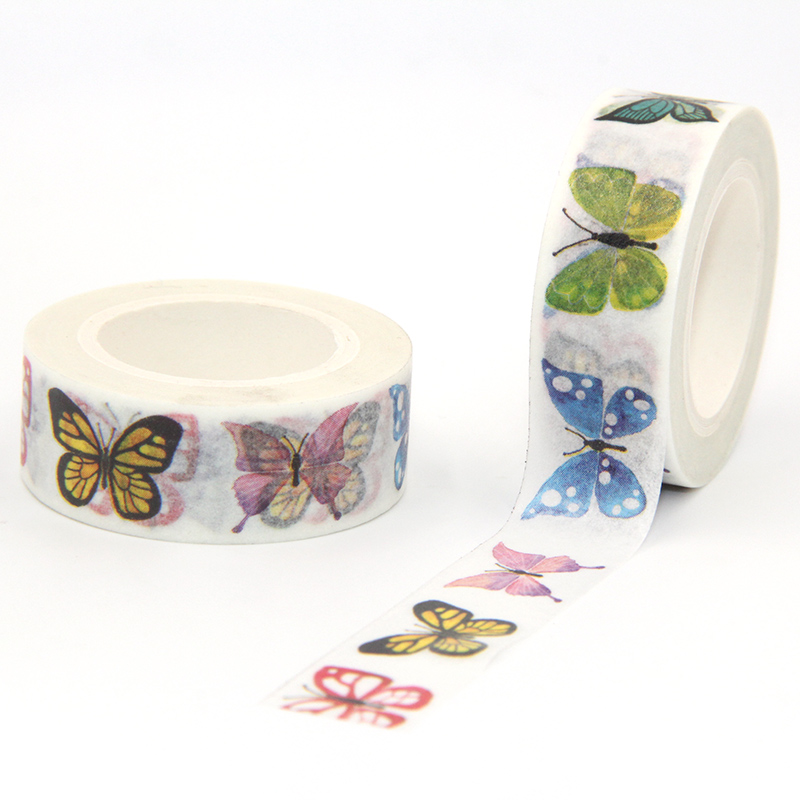 New Arrival 1PC 15MM*10M Colorful Butterfly Washi Tape Wide Sticky Adhesive Tape Scrapbooking Album DIY Decorative Paper Tape
