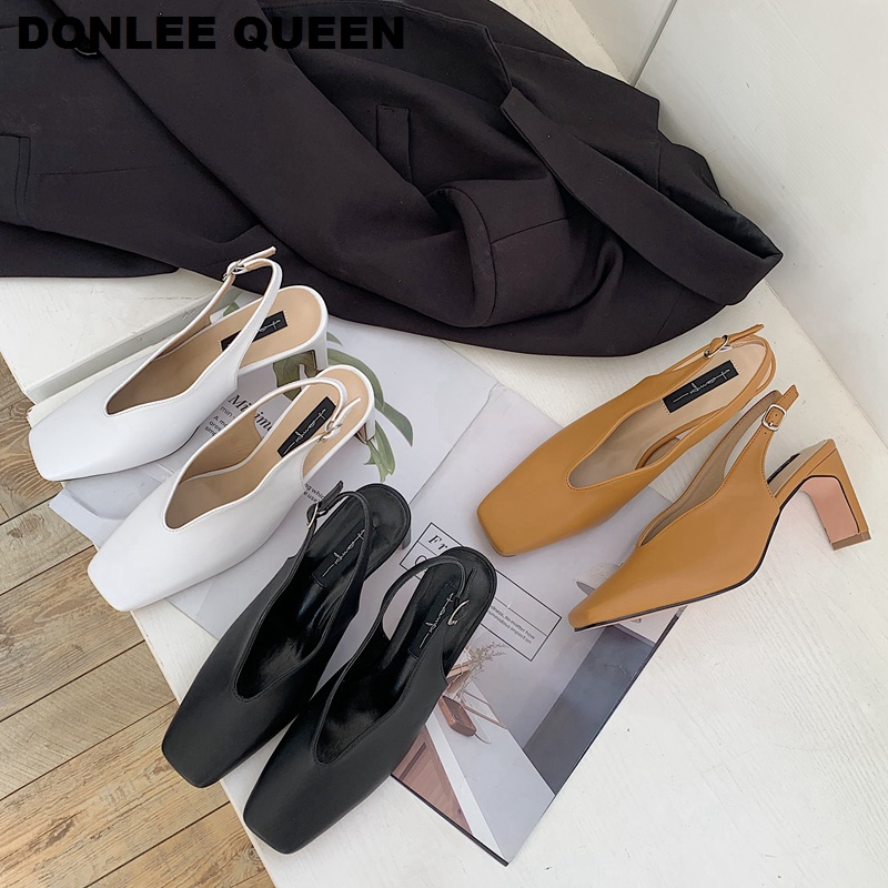 Shoes Woman Spring Slingbacks 7cm High Heels Sandals Women Square Toe Wave Elegant Pumps For Party Wedding Shoe Sandal Mujer New