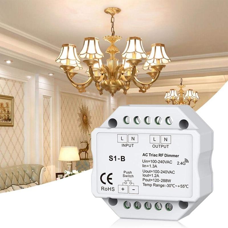 AC 110V - 220V S1-B Led Triac RF Dimmer Use 2.4GHz Wireless 120W-288W Push Dimmer LED Switch Controller