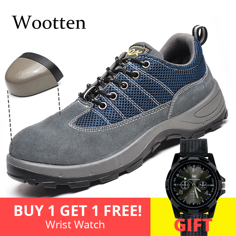 Plus Size Men Safety Shoes Cap Toe Steel Construction Indestructible Breathable Outdoor Stab-resistant Work Shoes #YS321