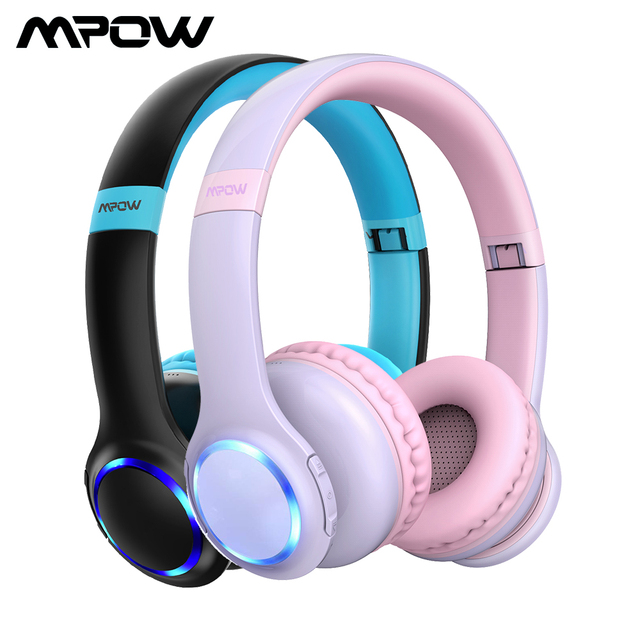 Mpow CH9 เด็กบลูทูธหูฟังชุดหูฟังพร้อมไมโครโฟน LED Light 85dB จำกัดสำหรับเด็กวัยรุ่น
