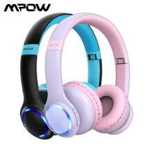Mpow auriculares CH9 plegables con Bluetooth para niños y niñas, dispositivo con micrófono y luz LED, límite de volumen de 85dB