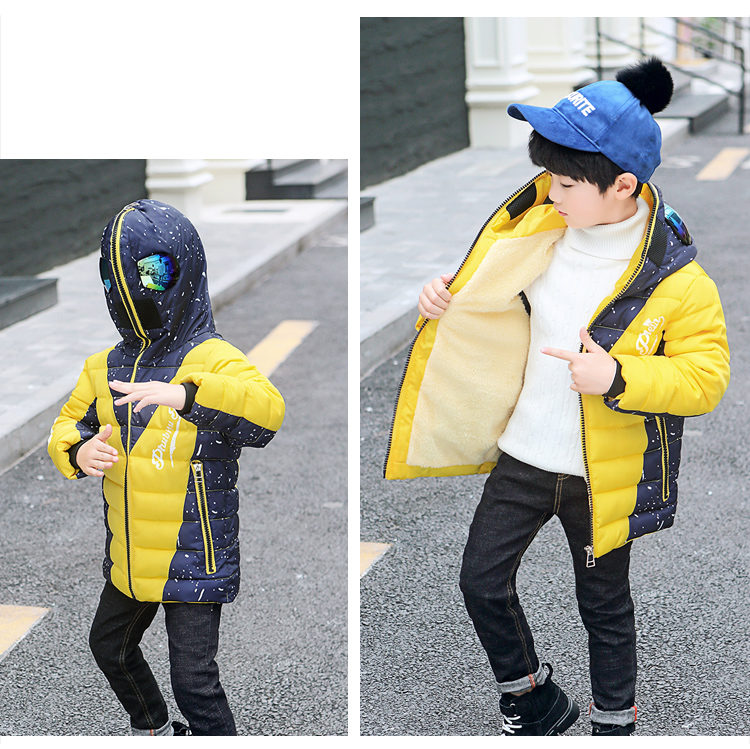 Hd6e444cbff1b431cb325b3c4ec573495Z - Winter Warm Kids Boys Jackets With Glasses For Children Waterproof Cotton-Padded Parkas with Glasses Teenage Hoodies Coat