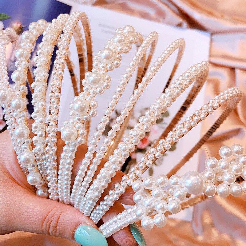 Simulation Pearl Hair Accessories Headbands For Women Korean Gold Bezel Hoop Big Small Flower Bowknot Hairbands Girls Jewelry