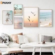 Pôr-do-sol oceano paisagem arte da parede praia mar pássaro surf pintura da lona nórdico cartazes e impressões fotos para sala de estar decoração