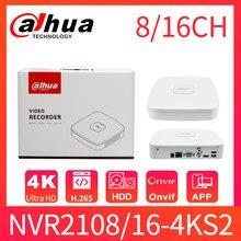 Dahua nvr 8ch 16ch 4k nvr NVR2108-4KS2 NVR2116-4KS2 mini nvr onvif rede gravador de vídeo h.265 hdmi sistema de vigilância por vídeo