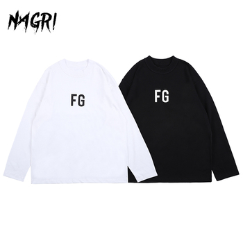 Hip Hop Long Sleeve T shirt Men FG Graphic Letter Printed Solid Color Loose Pullover Casual Tee Men's Streetwear T-shirts - discount item  45% OFF Tops & Tees