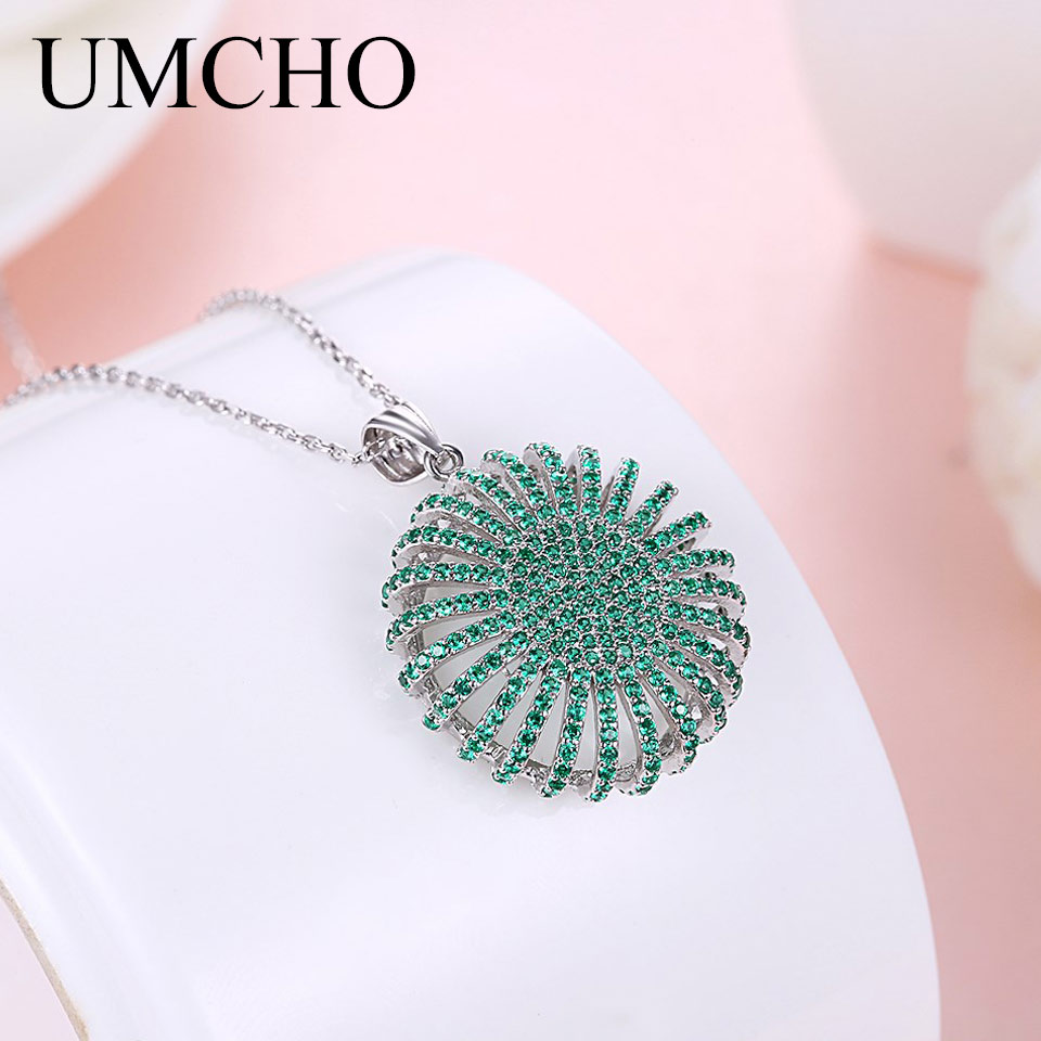 UMCHO Solid 925 Sterling Silver Zircon Green Round Pendants Necklace For Women Girl Wedding Engagement Party Fine Jewelry