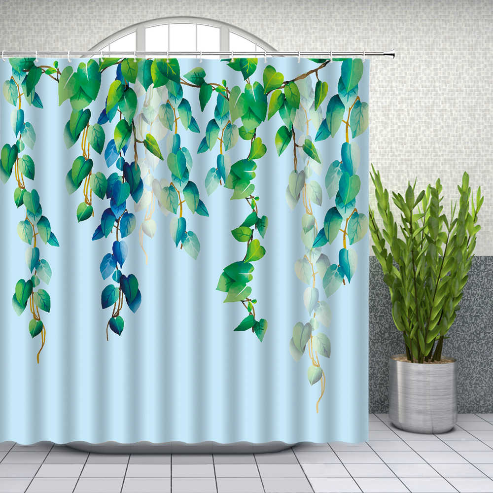 green leaf shower curtains watercolor plant vine themed pattern bathroom decor home bath waterproof polyester cloth curtain set
