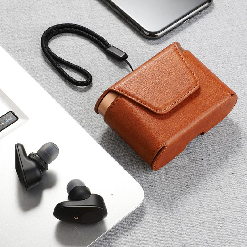 Dustproof Leather Protective Cover Case Storage Bag for Sony WF-1000XM3 Earphone 24BB