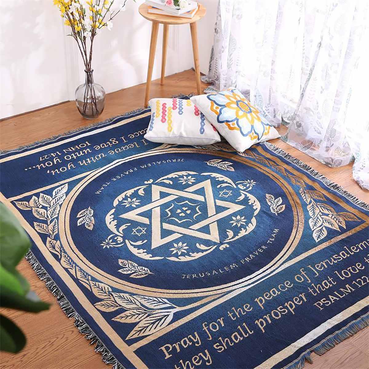 Israel Prayer Blanket Carpet Tapestry Sofa Knit Throw Towel Christian Gift Livingroom Bed Blanket Middle East Decorative Blanket