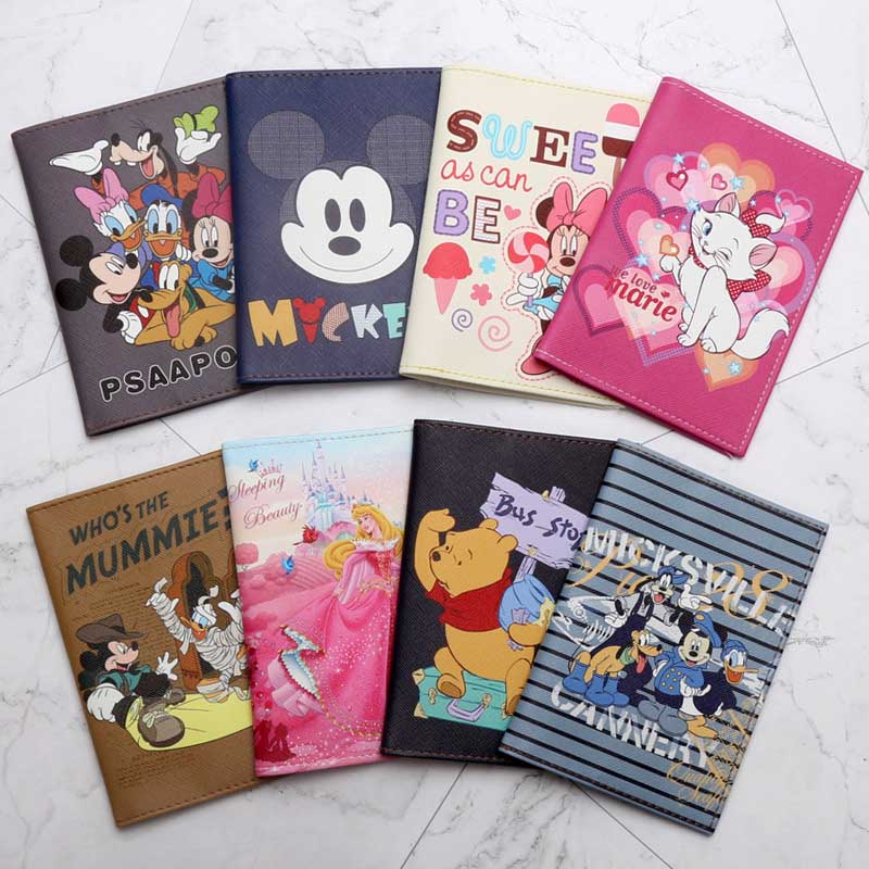 Travel Accessories Cartoon Mickey & Minnie Passport Holder PU Leather Travel Passport Cover Case Card ID Holders 14cm*9.6cm