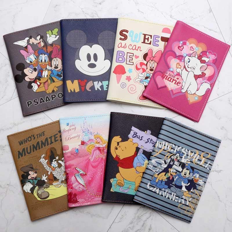 Travel Accessories Cartoon Mickey & Minnie Passport Holder PU Leather Travel Passport Cover Case Card ID Holders 14cm*9.6cm