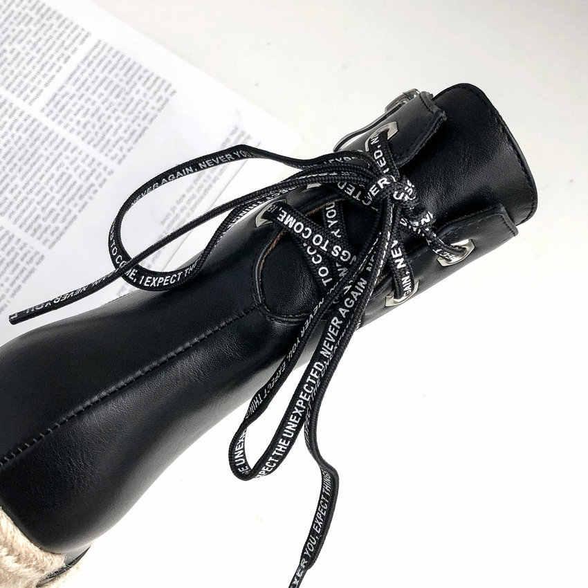 QUTAA 2020 Sivri Burun Kama Yüksek Topuk Sonbahar Kış Kadın Ayakkabı PU Deri Moda Platformu ayak bileği bağcığı Botları Büyük Size34-43