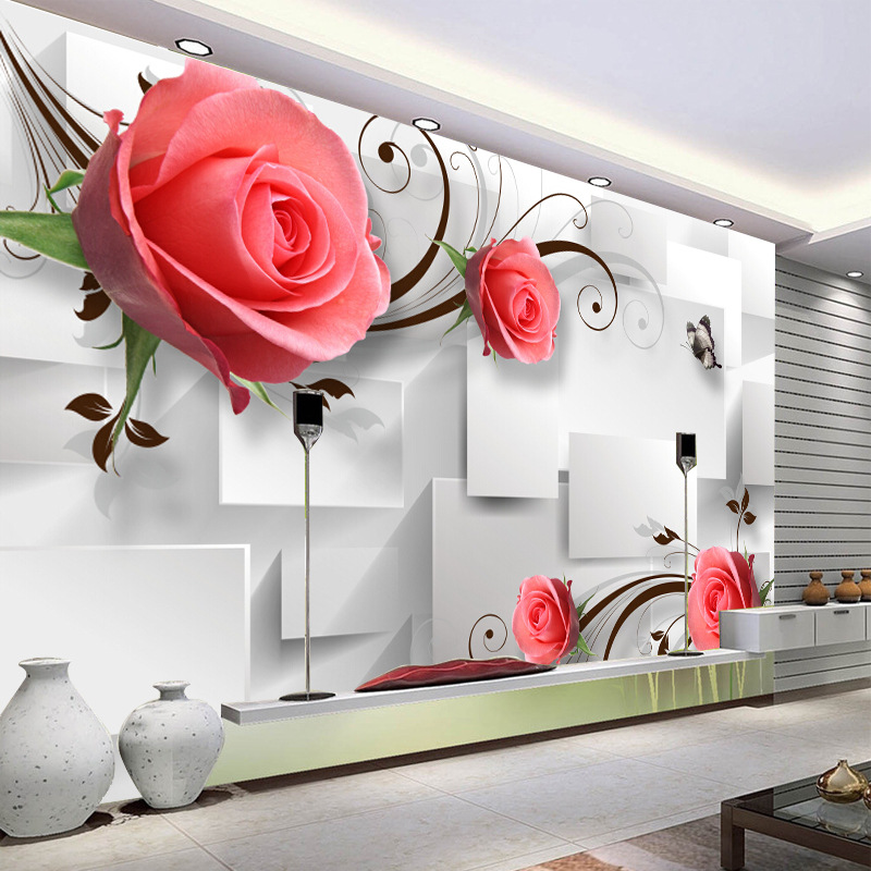 3D Rose Stereo Whole Piece Seamless Cloth Large Mural Wallpaper Living Room Sofa Television Wall Painting