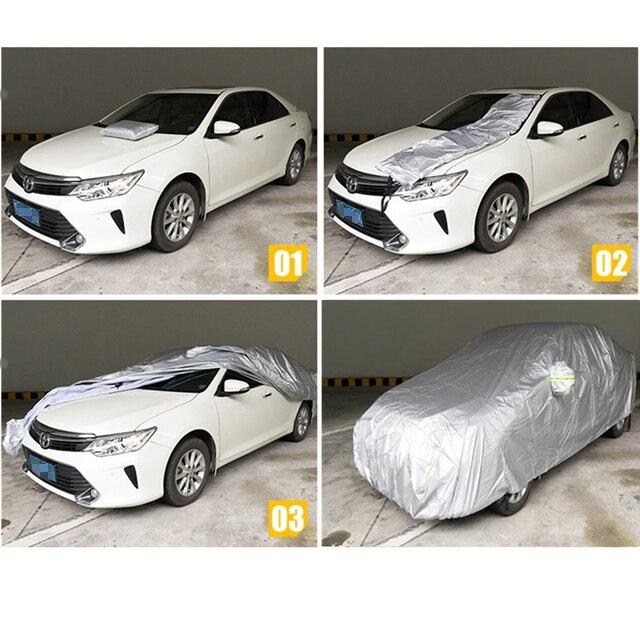 JIUWAN Universal SUV Car Covers Sun Dust UV Protection Outdoor Auto Full covers Umbrella Silver Reflective Stripe For SUV Sedan 1
