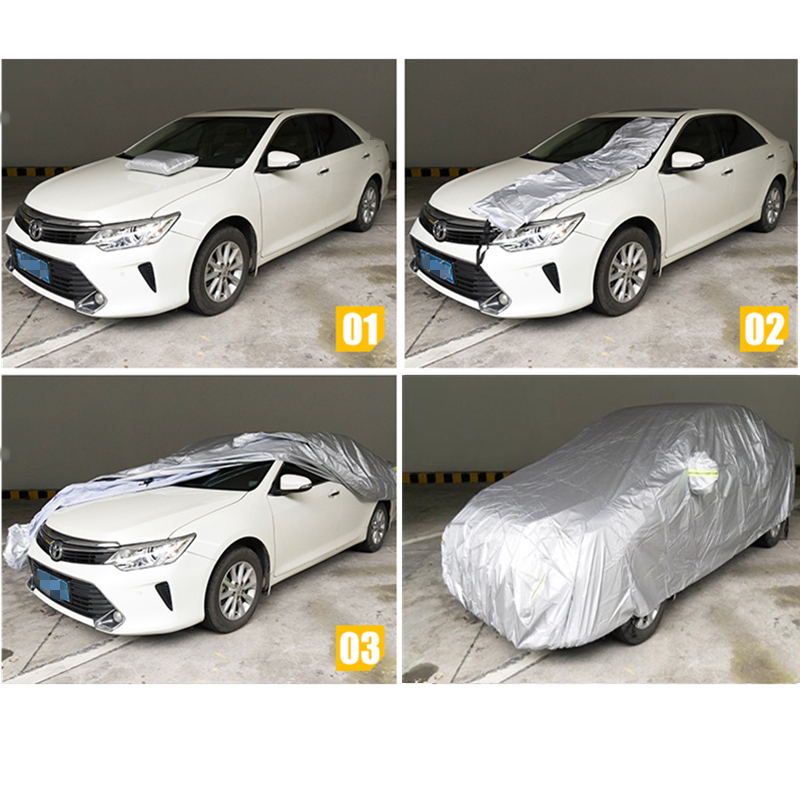 Image 2 - JIUWAN Universal SUV Car Covers Sun Dust UV Protection Outdoor Auto Full covers Umbrella Silver Reflective Stripe For SUV Sedan-in Car Covers from Automobiles & Motorcycles