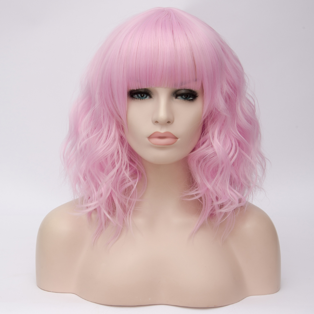 Hd6e4ed1b59ff4a789631dfe4863700c3v - Similler Short Synthetic Wig for Women Cosplay Curly Hair Heat Resistance Ombre Color Blue Purple Pink Green Orange Two Tones
