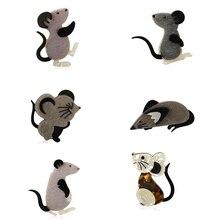Потрясающая цена, многослойная акриловая серия мышек, броши, значок, фланель, мультфильм, черное животное, брошь, значок, хиджаб, булавка, подарок на год