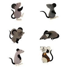 Blucome Vivid Multi-Layer Acrylic Mouse Series Brooches Icon flannel Cartoon Black Animal Brooch Badge Hijab Pin New Years Gift