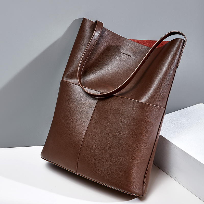 100% Genuine Leather Fashion Coffee Women Shoulder Bag High Quality Tote Handbag Daily Casual Shopping Bags For Lady Black