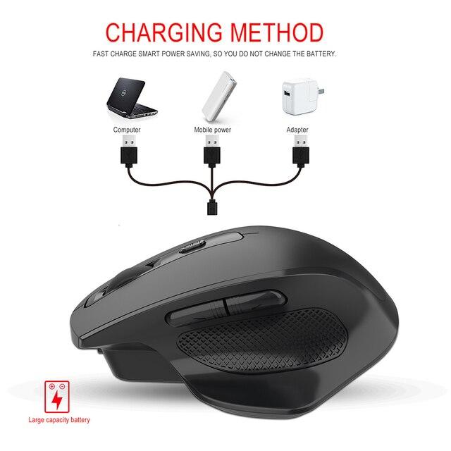 Mouse Wireless ricaricabile SeenDa 2.4G 6 pulsanti Mouse da gioco per Gamer Laptop ricevitore USB Desktop clic silenzioso Mause muto 5