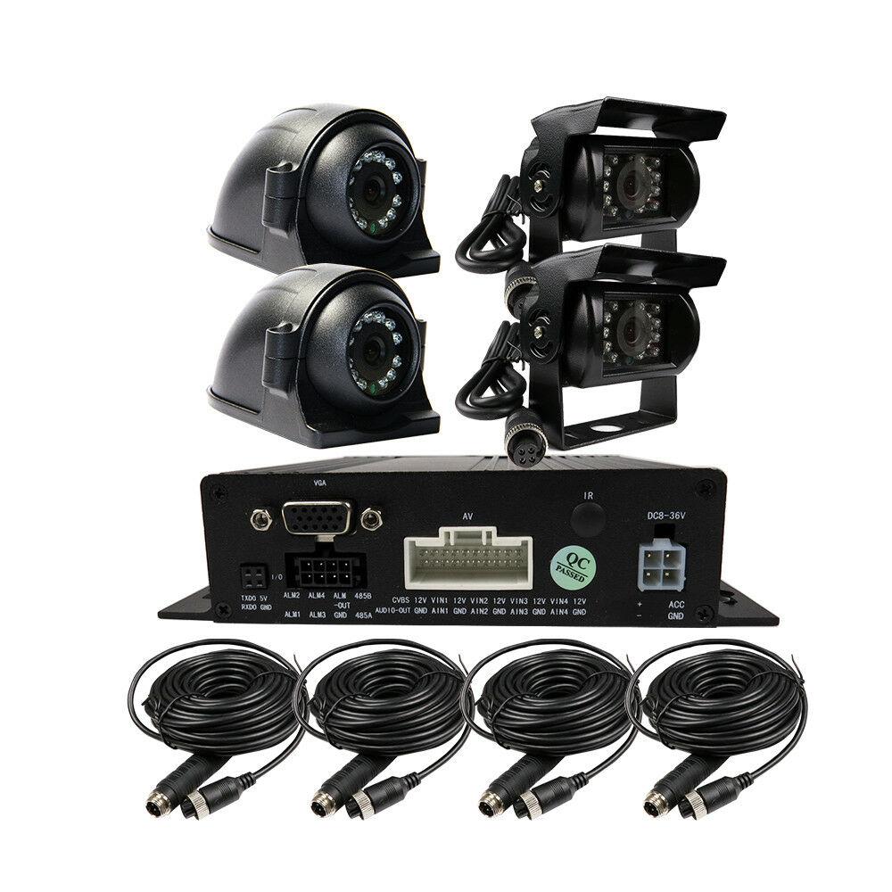 DIY 720P AHD 4CH Car Rear View DVR MDVR Video Record Realtime Record 720P Camera kit System