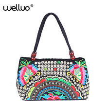 2019 Ethnic Canvas Tote Bag Floral Money Coin Embroidery Designed Handbags Female Shoulder Shopping Bag Sacoche Femme XA494-1B(China)