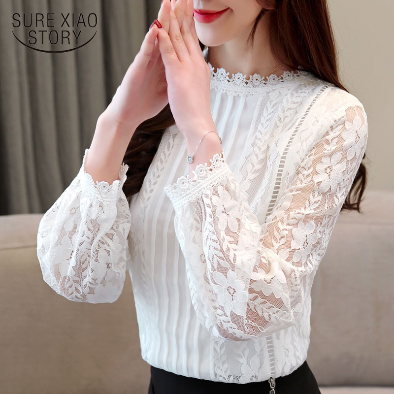 fashion women blouse 2019 solid lace print long-sleeved women shirts white blouse elegant women tops hollow blouses 1991 50