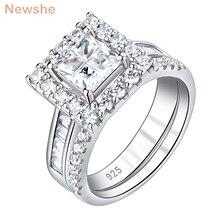 Newshe 925 пробы серебряные Свадебные обручальные кольца наборы для женщин квадратный крест Огранки AAA кубический циркон классические ювелирные изделия кольца BR0765