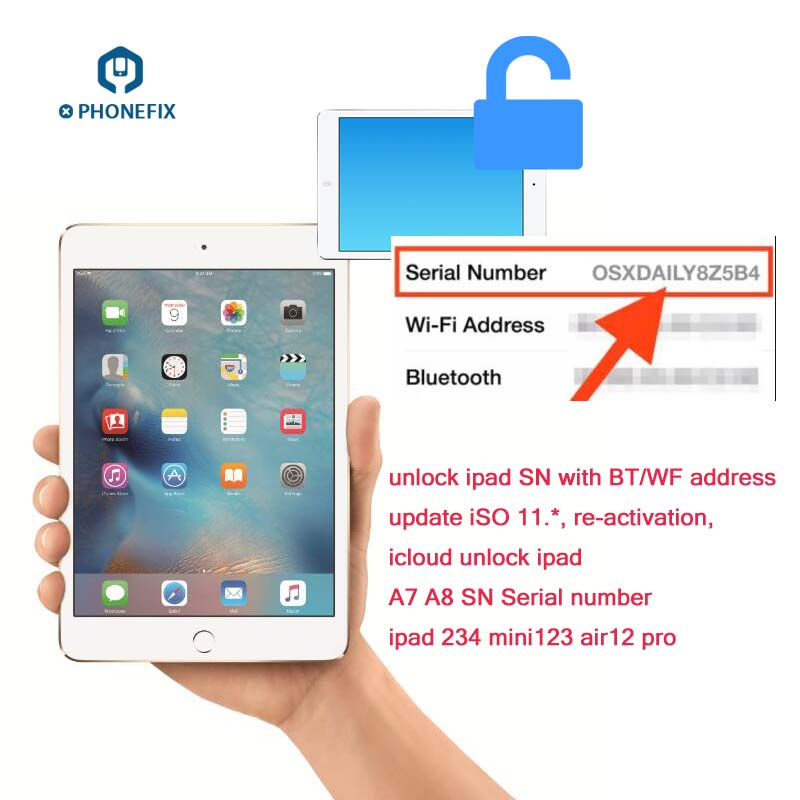 PHONEFIX SN Serial Number For IPad ICloud Unlock Serial Number Bluetooth WiFI Address For IPad 2 3 4 5 6 Air1 2 Mini 1 2 3 4 Pro